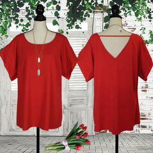 NWOT City Chic A-Line Berry Red Bell Sleeve Tunic